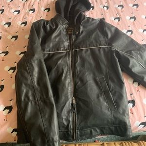 Faux Leather Jacket with Cotton Hood